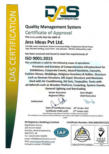 ISO Certificate for Jess Ideas